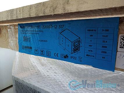 Эмблема на приточно-вытяжной установке Blauberg KOMFORT Roto EC LE2000-12-S17 в сборе возле офиса