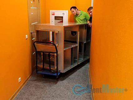 Перемещаем приточно-вытяжную установку Blauberg KOMFORT Roto EC LE2000-12-S17 в разобранном виде по офису