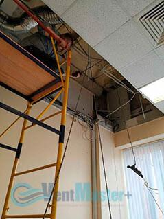 Подготовка к подъему приточно-вытяжной установки Blauberg KOMFORT Roto EC LE2000-12-S17 в офисе Альтуэра