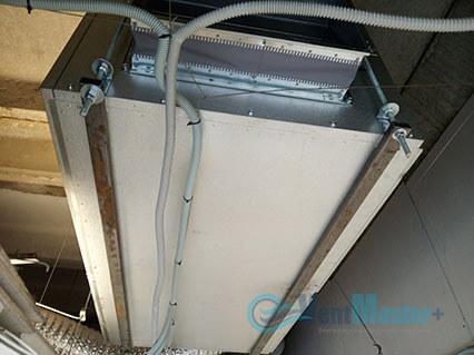 Демонстрация крепежа приточно-вытяжной вентиляционной установки Blauberg на шпильках воздуховода для центральной вентиляции в офисе Альтуэра средний план