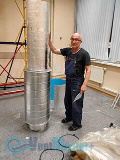 Готовые изолированные трубы воздуховода для центральной вентиляции офиса Альтуэра крупным планом
