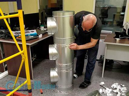 Подготовка тройников для для приточно-вытяжной установки Blauberg-KOMFORT-Roto-EC-LE2000