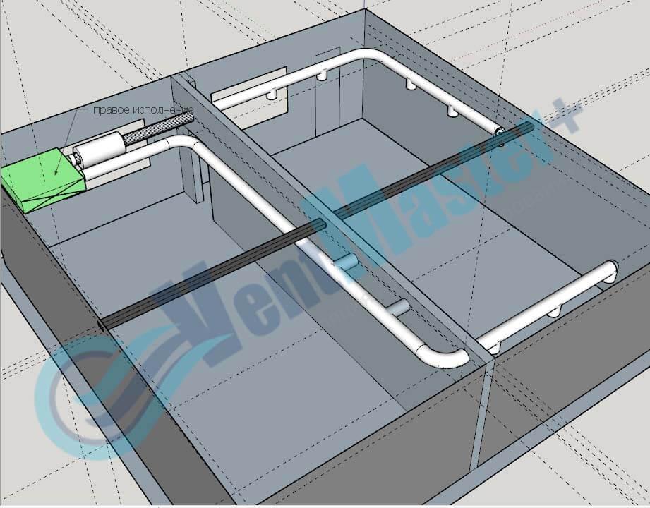 Установка Blauberg KOMFORT EC DE1100-3.3 с каналами на схеме проекте вентиляции для учебного класса и мастерской ЦИТ Свято-Троицкой Сергиевой Лавры