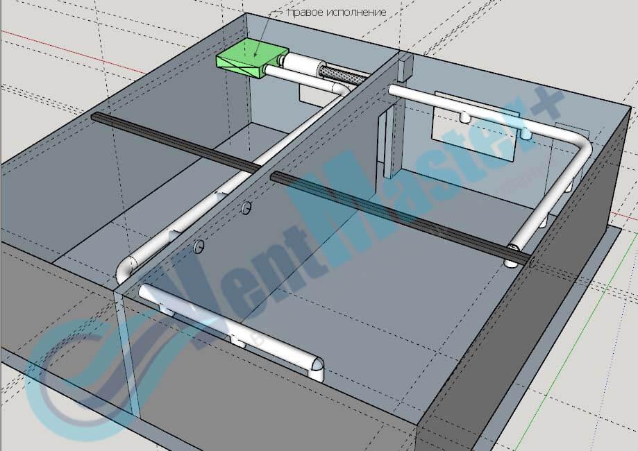 Установка Blauberg KOMFORT EC DE1100-3.3, вид сбоку 1, с каналами на схеме проекте вентиляции для учебного класса и мастерской ЦИТ Свято-Троицкой Сергиевой Лавры