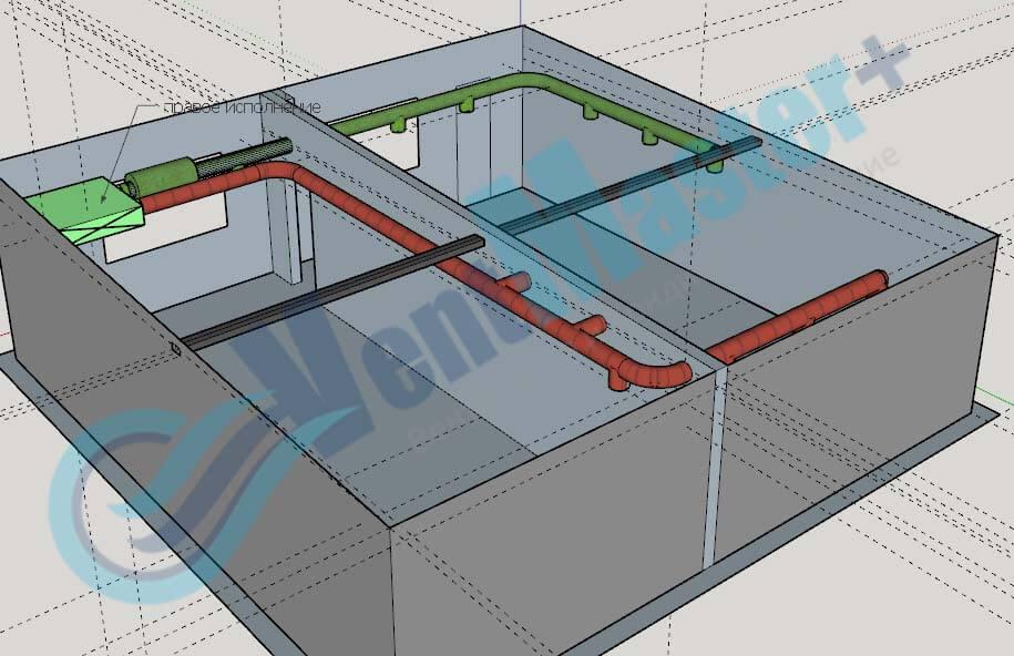 Установка Blauberg KOMFORT EC DE1100-3.3, вид сбоку 2, с каналами на схеме проекте вентиляции для учебного класса и мастерской ЦИТ Свято-Троицкой Сергиевой Лавры