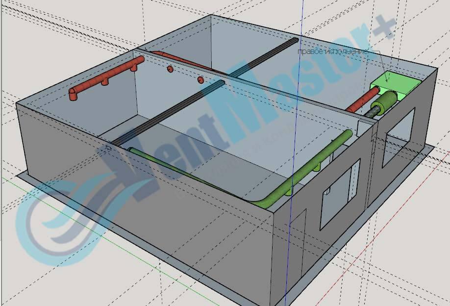 Установка Blauberg KOMFORT EC DE1100-3.3, вид сбоку 3, с каналами на схеме проекте вентиляции для учебного класса и мастерской ЦИТ Свято-Троицкой Сергиевой Лавры