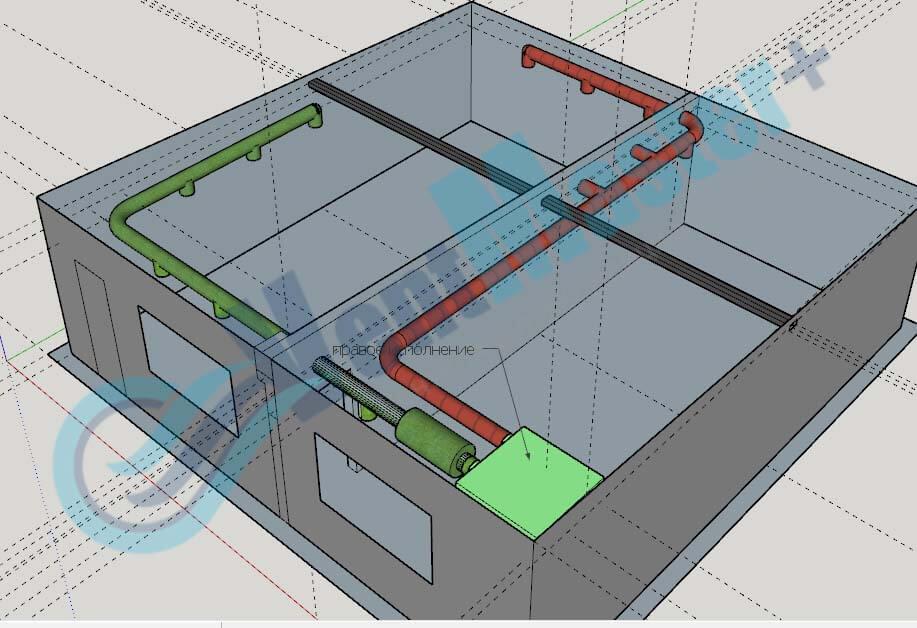 Установка Blauberg KOMFORT EC DE1100-3.3, вид сбоку 4, с каналами на схеме проекте вентиляции для учебного класса и мастерской ЦИТ Свято-Троицкой Сергиевой Лавры