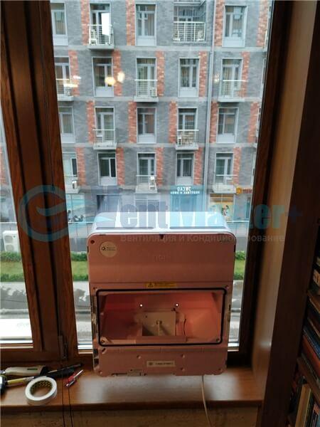 Установка бризера Тион 3s на стеклопакет балконной стены, Москва, ул. Хромова Фото6