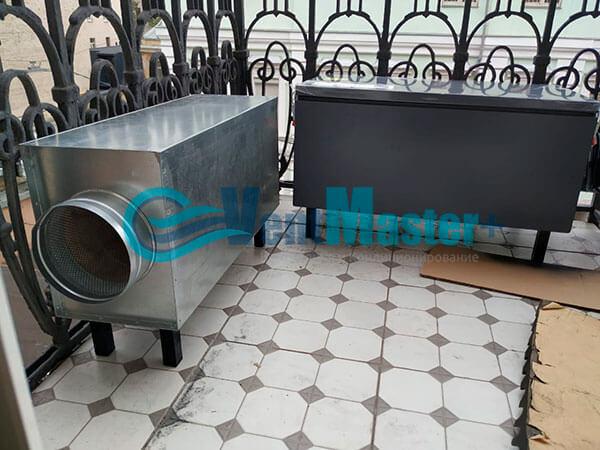 Монтаж приточной установки Minibox E-650 c прямоугольным шумоглушителем Фото14