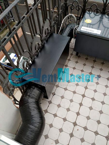 Монтаж приточной установки Minibox E-650 c прямоугольным шумоглушителем Фото20