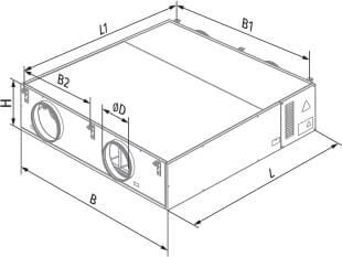 Размеры Blauberg KOMFORT EC DW600-2