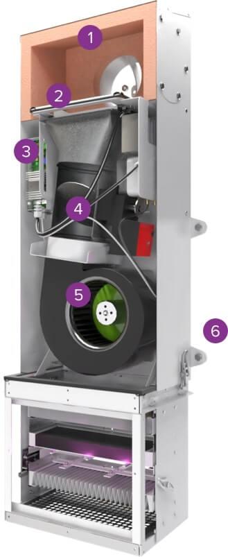 Вентиляционная установка Minibox.Home-200 в разрезе